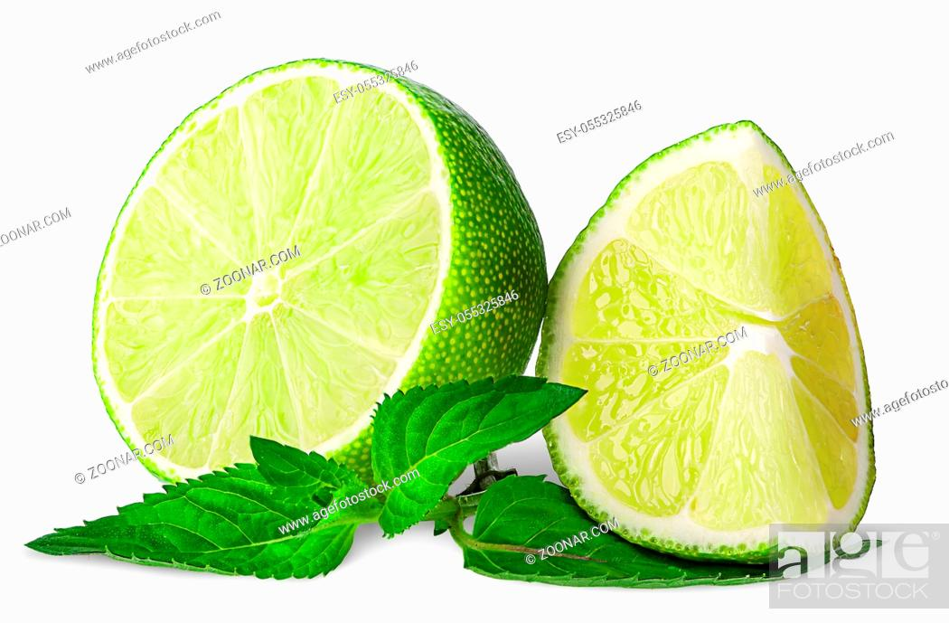 Stock Photo: Several pieces of lime with mint isolated on white background.