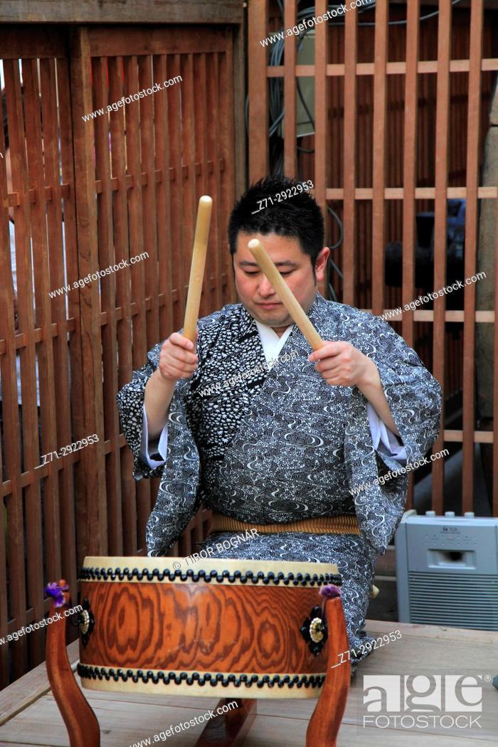 Stock Photo: Japan, Kyoto, Gion Matsuri, festival, musician, drummer,.