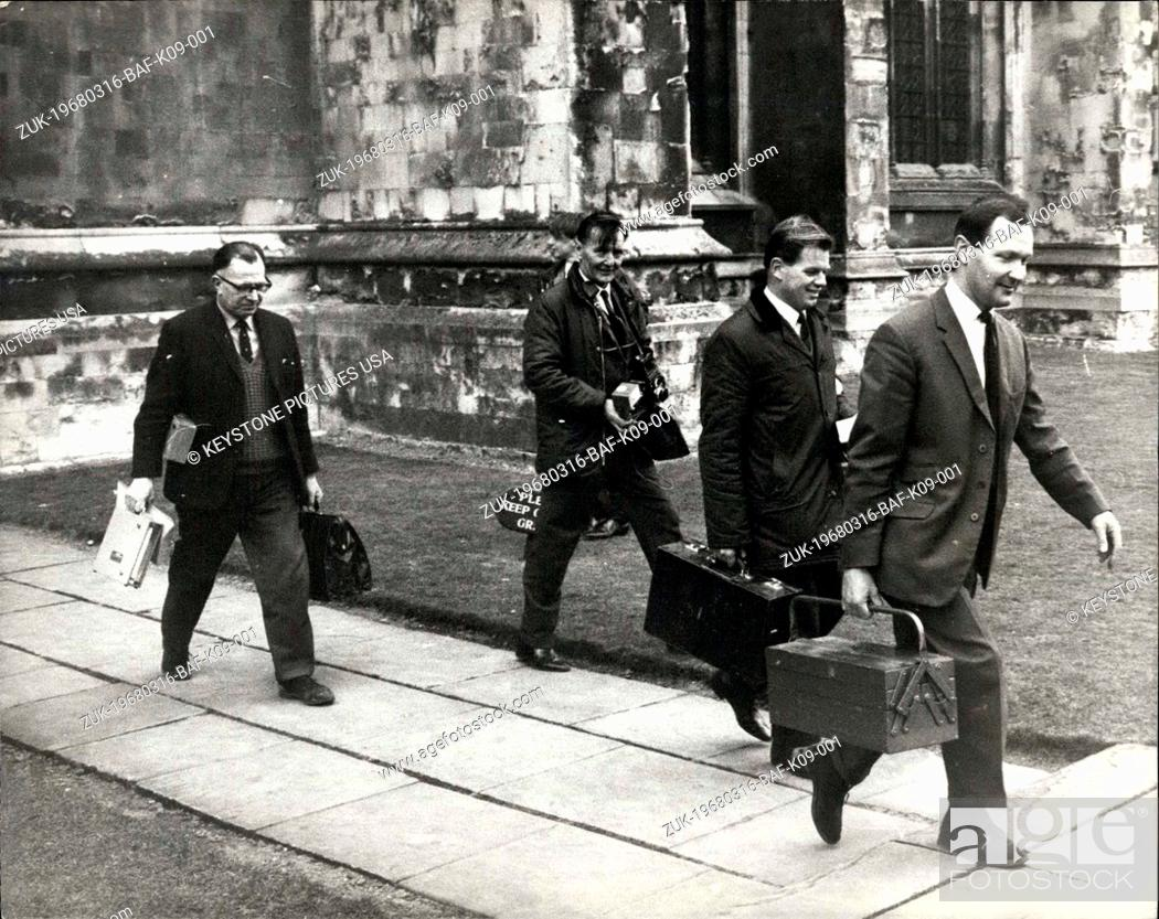Stock Photo: Mar. 16, 1968 - Gang Raid Canterbury Cathedral : A gang broke into Canterbury Cathedral early yesterday and stole antique silver worth ?17, 000.