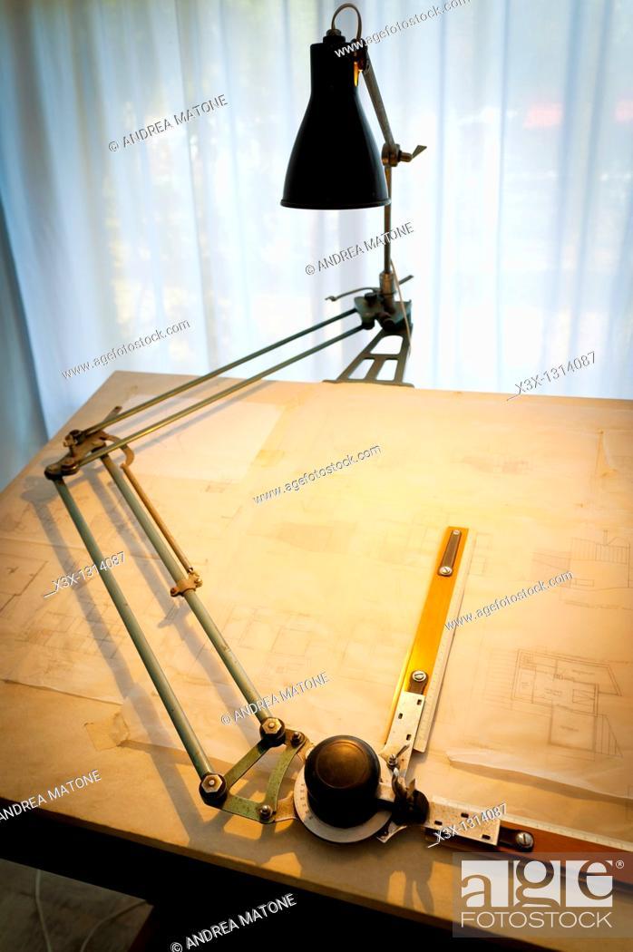 Stock Photo: Architect drafting table.