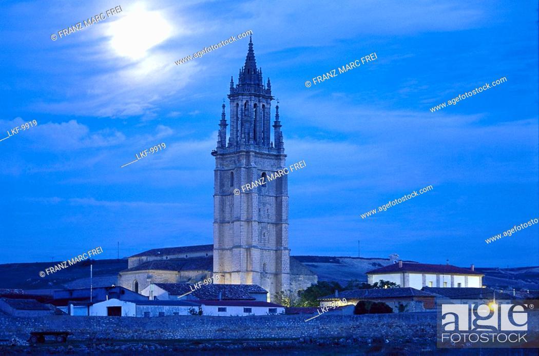 Stock Photo: Steeple in the moonlight, Ampudia, Tierra de Campos, Castilla, Spain, Europe.