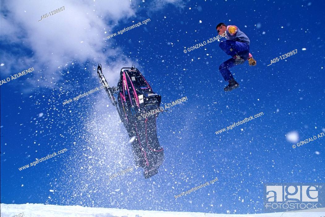Stock Photo: Snowmobile  Ski Station  Grand Valira  Grau Roig  Encamp Province  Andorra.