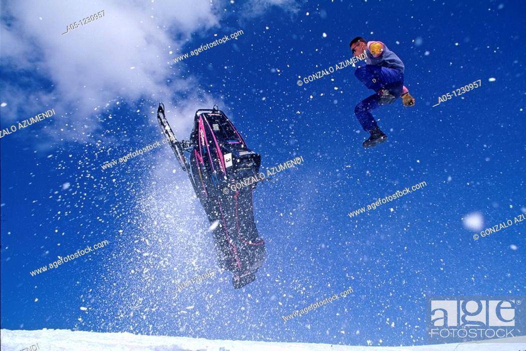 Stock Photo: Snowmobile  Ski Station  Grand Valira  Grau Roig  Encamp Province  Andorra.