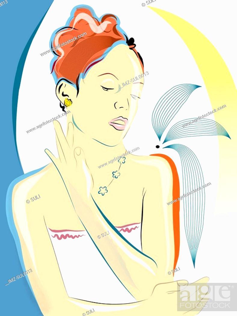 Stock Photo: Illustration of a woman dabbing on perfume.