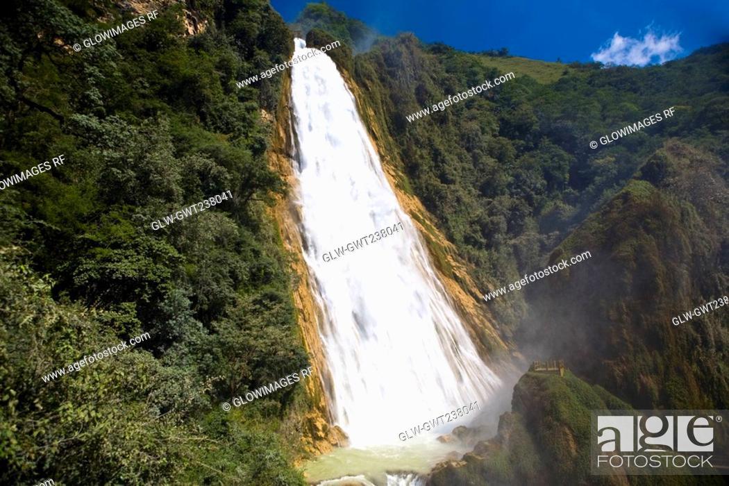 Stock Photo: Waterfall in a forest, El Chiflon, Socoltenango, Chiapas, Mexico.