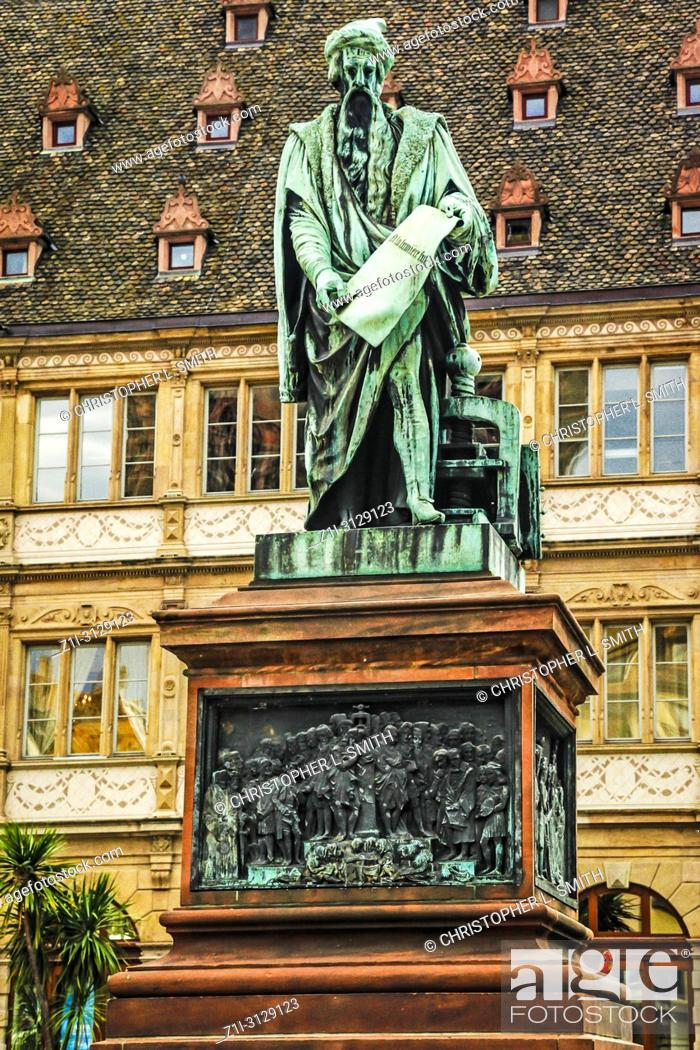 Stock Photo: The statue of Gutenberg in Place Gutenberg, Strasbourg, France.