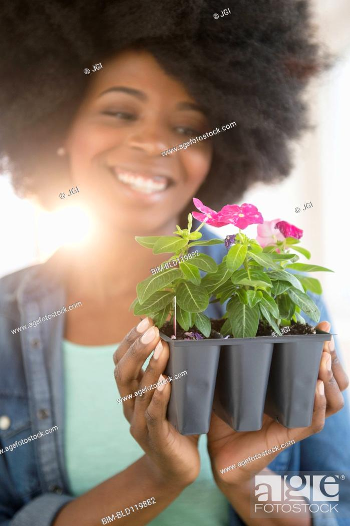 Stock Photo: Mixed race woman holding potted flowers.