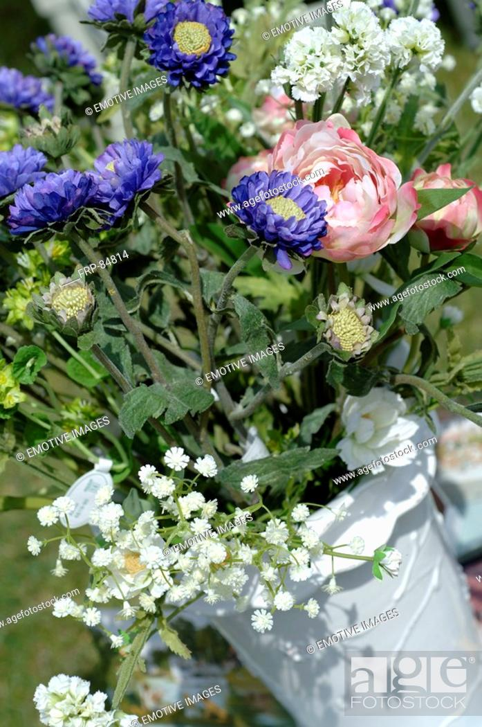Stock Photo: Summerly bunch with blue chrysanthemum.