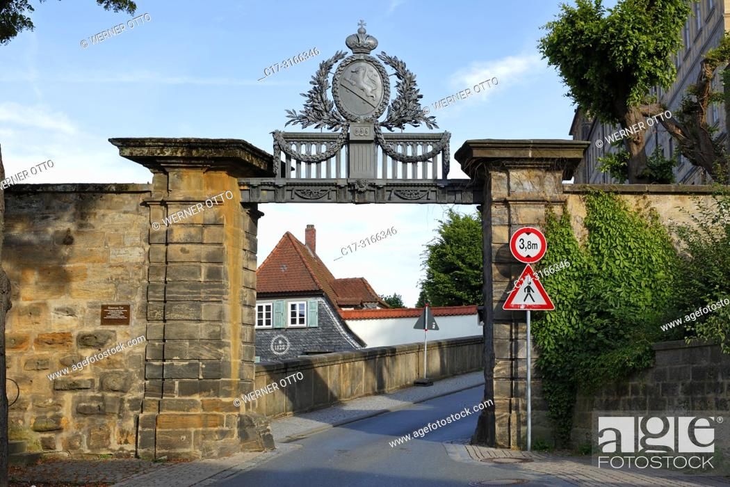 Stock Photo: Bamberg, D-Bamberg, Regnitz, Main-Danube Canal, Upper Franconia, Franconia, Bavaria, Iron Gate with heraldic figure, driveway to the cathedral hill.