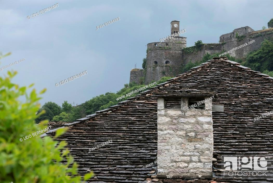 Stock Photo: Gjirokastër city in southern Albania UNESCO World Heritage sites May 2017 - Ethnographical Museum | usage worldwide. - Gjirokastra/Gjirokastra/Albania.