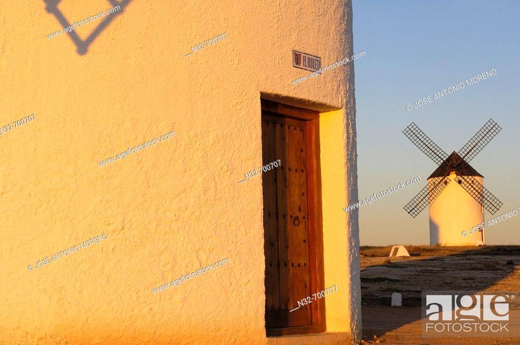 Stock Photo: Windmills. Campo de Criptana. Ciudad Real province, Ruta de don Quijote. Castilla-La Mancha, Spain.