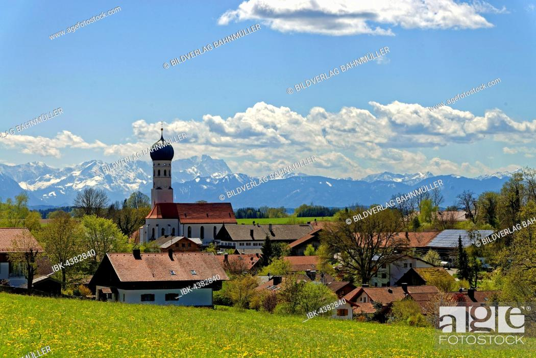 Stock Photo: Parish Church of the Assumption, in front of the Wetterstein mountains with Zugspitze, Münsing, Upper Bavaria, Bavaria, Germany.