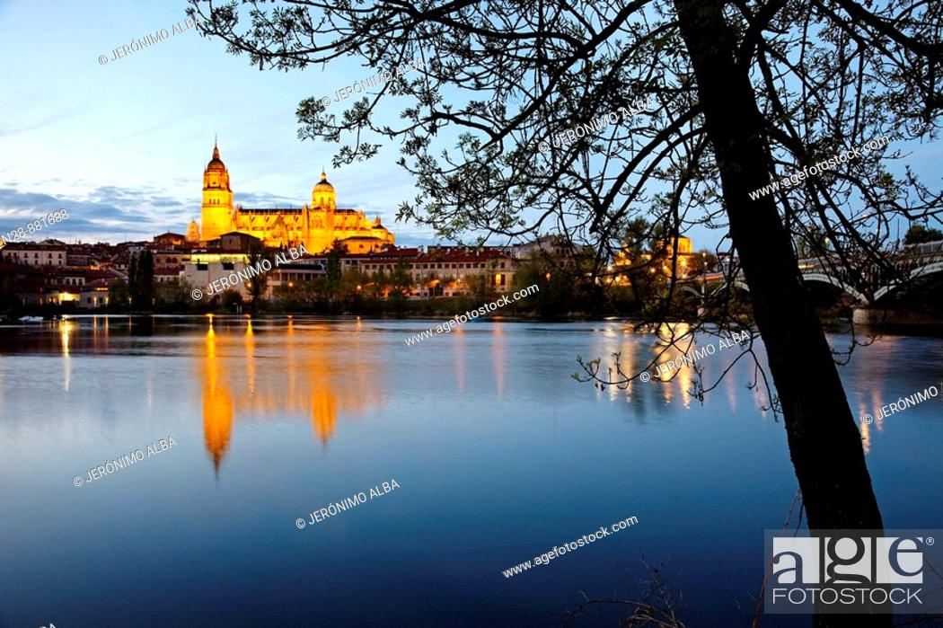 Stock Photo: Tormes river and cathedral, Salamanca. Castilla-Leon, Spain.