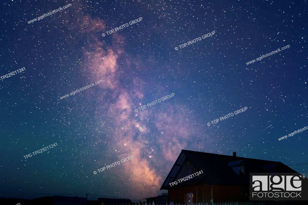 Stock Photo: Milky Galaxy and the House.