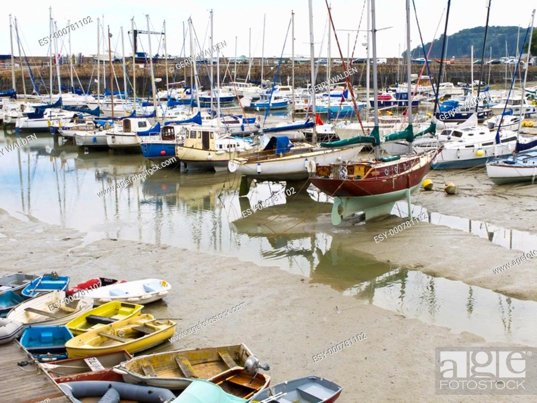 Stock Photo: The harbour at St  Aubin on the island of Jersey in the Channel Islands.