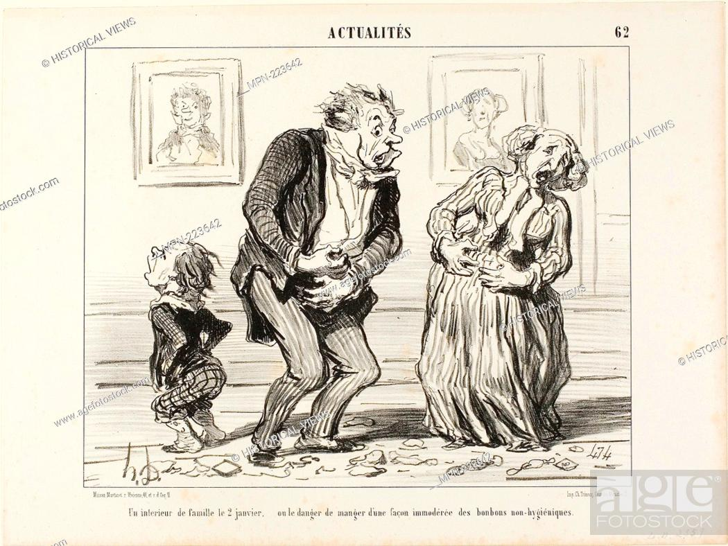 Stock Photo: The Interior of a Family on January 2 - or the Danger of Consuming Immoderately Non-Hygienic Sweets, plate 62 from Actualités - 1853 - Honoré Victorin Daumier.