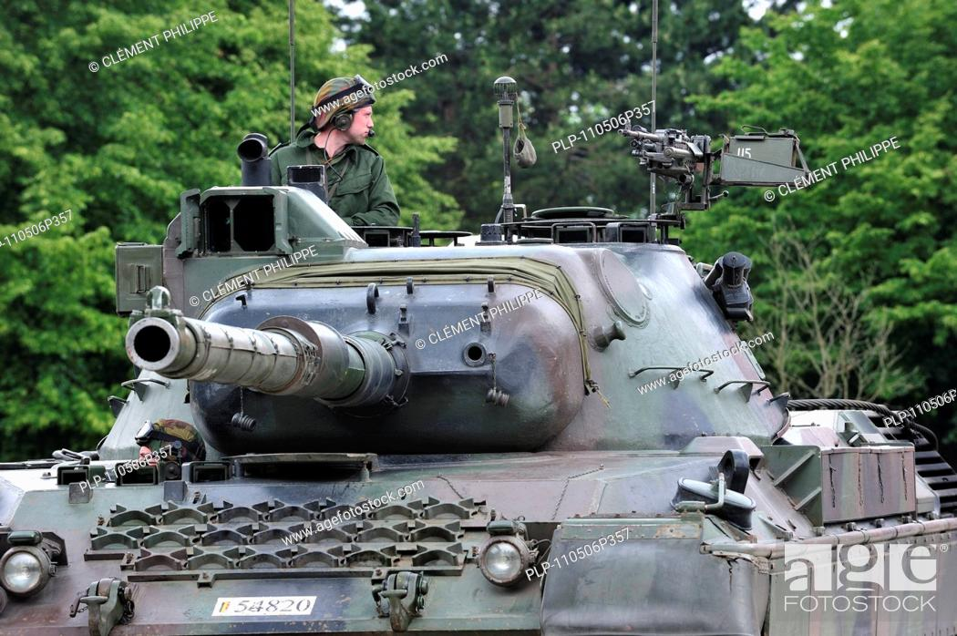 Driver and commander in turret of Leopard 1 battle tank of