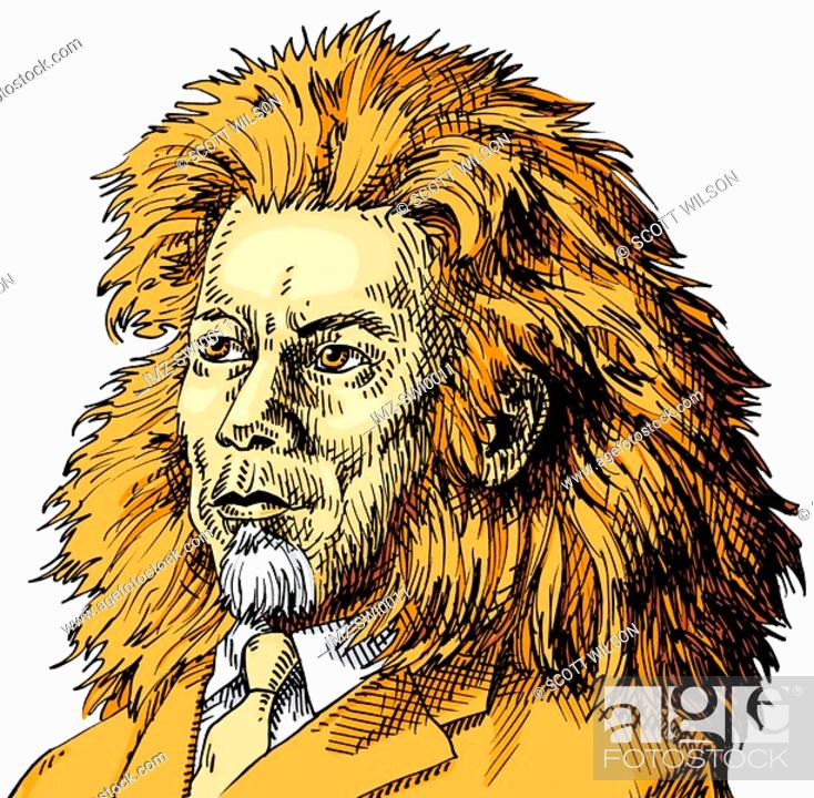 Stock Photo: An illustration of a of a businessman adapted into a lion.