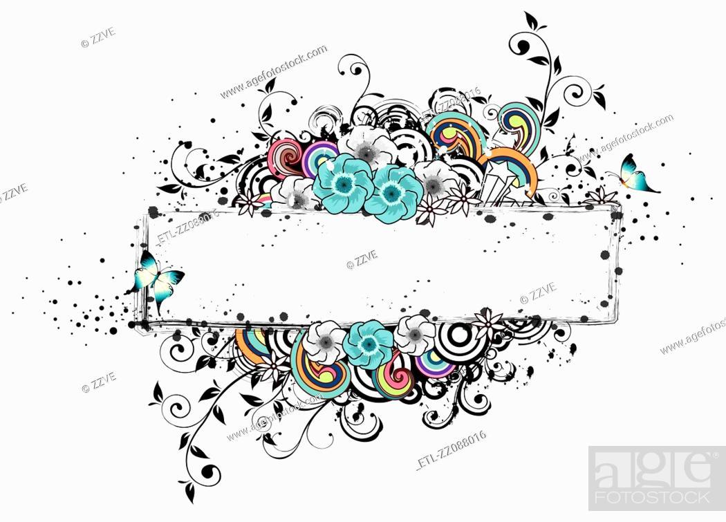 Stock Photo: Rectangular frame with flora elements.
