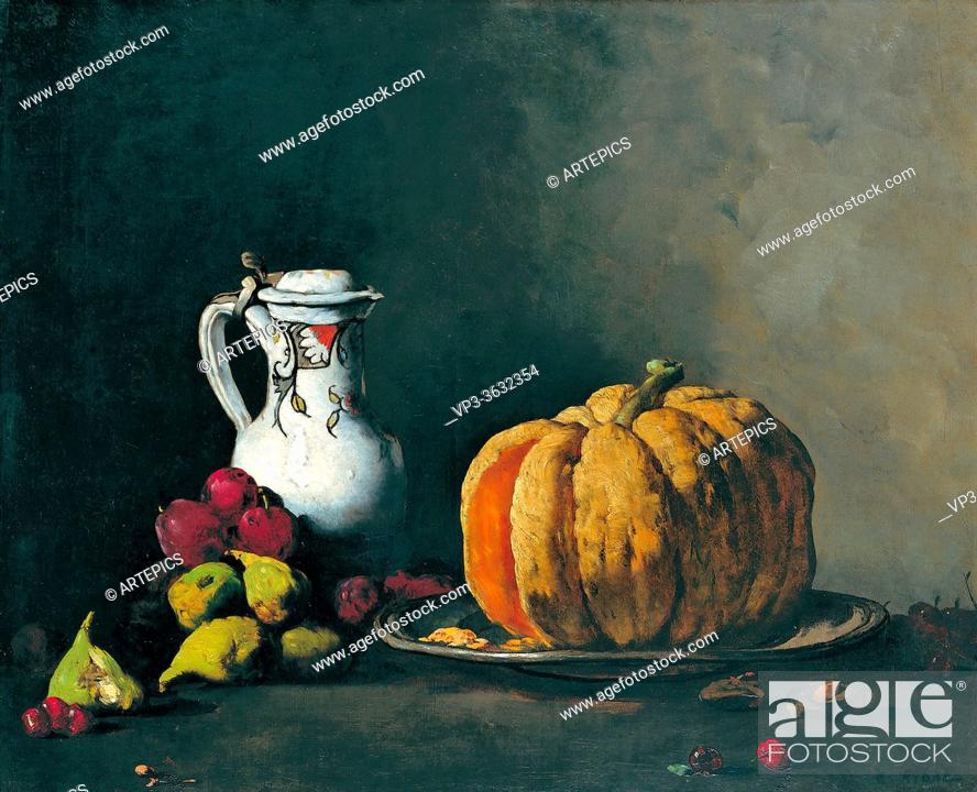 Stock Photo: Ribot Theodule Augustin - Still Life with Pumpkin Plums Cherries Figs and Jug - French School - 19th and Early 20th Century.