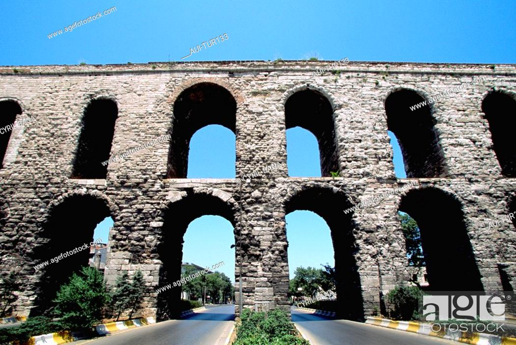 Stock Photo: Turkey - Istanbul - Historic Center - Fatih District - Valens Aqueduct.