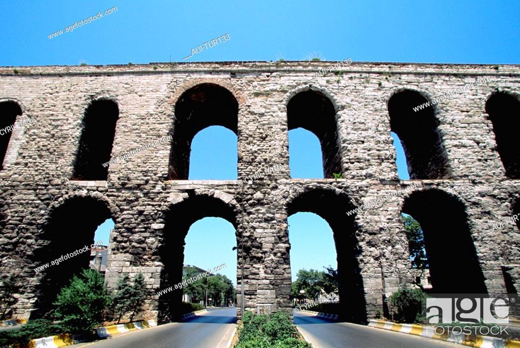 Stock Photo: Turkey - Istanbul - Historic Center - Fatih District - Valens Aqueduct.