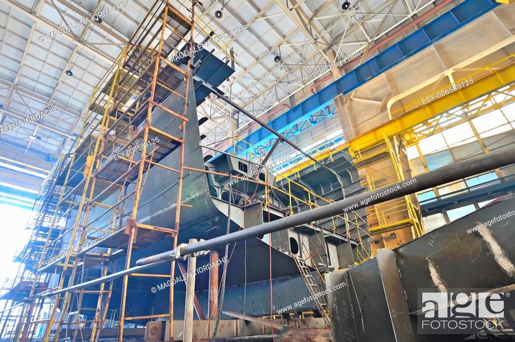 Stock Photo: Ship building in a shipyard.