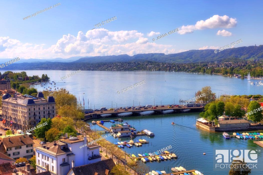 Stock Photo: Zurich, Quaibruecke, lake Zurich, Switzerland.