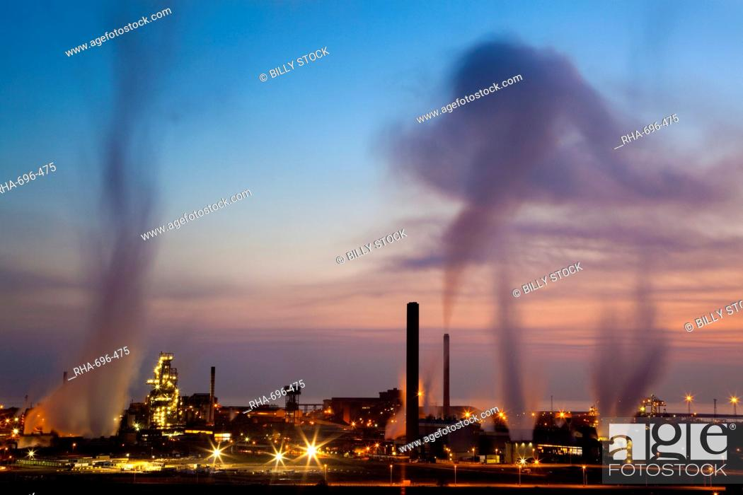 Stock Photo: Blast furnaces, Corus Steelworks, Port Talbot, Glamorgan, Wales, United Kingdom, Europe.