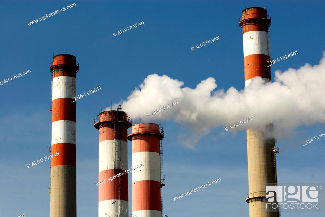 Stock Photo: Marghera industrial district, Venice, Italy.