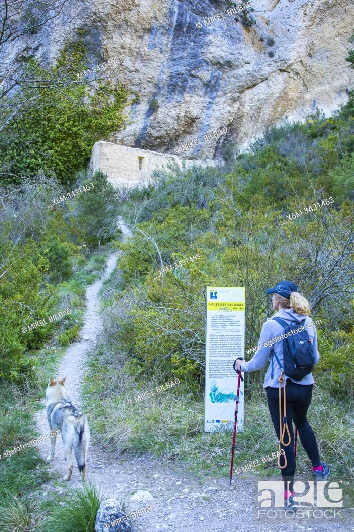 Stock Photo: Woman hiker in a path. Desfiladero del Rio Puron route. Valderejo Natural Park, Alava, Spain, Europe.