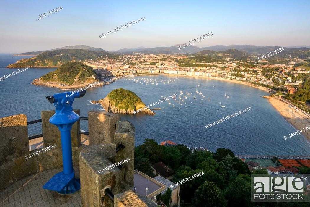 Stock Photo: La Concha Bay. Monte Igeldo. Donostia. San Sebastian. Gipuzkoa. Basque Country. Spain.