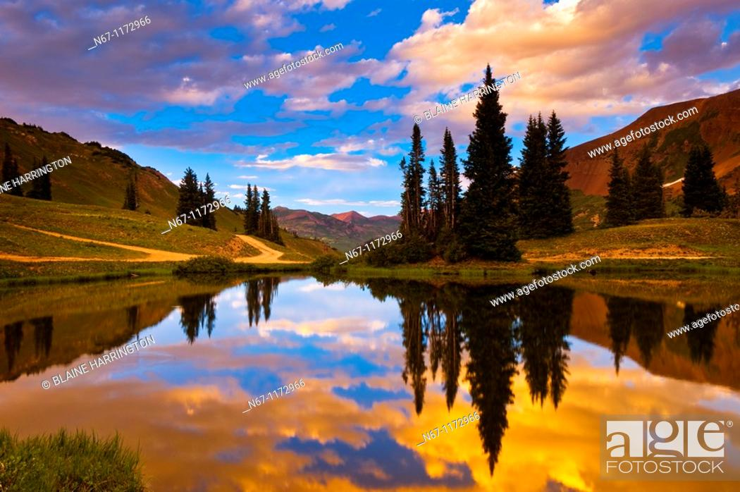 Stock Photo: A pond on Paradise Divide at 11,500 feet, near Crested Butte, Colorado USA.