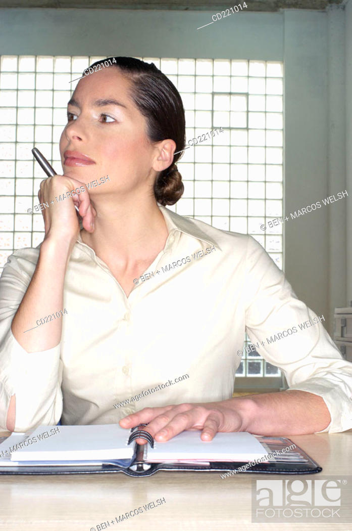 Stock Photo: One woman, office, agenda.
