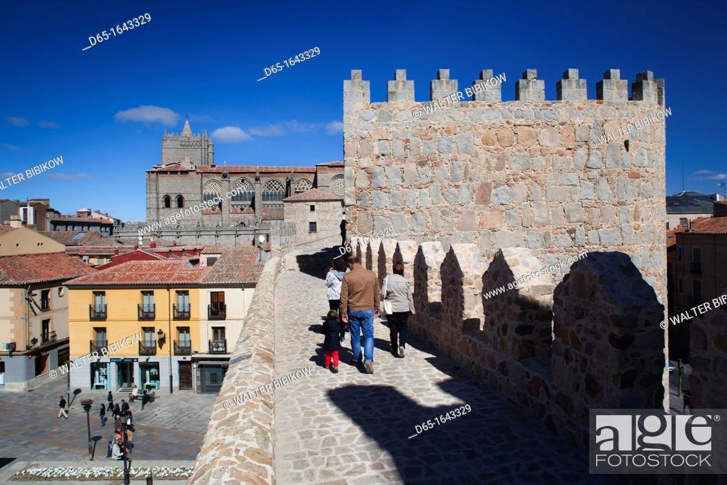 Stock Photo: Spain, Castilla y Leon Region, Avila Province, Avila, Avia Cathedral from Las Murallas, town walls.