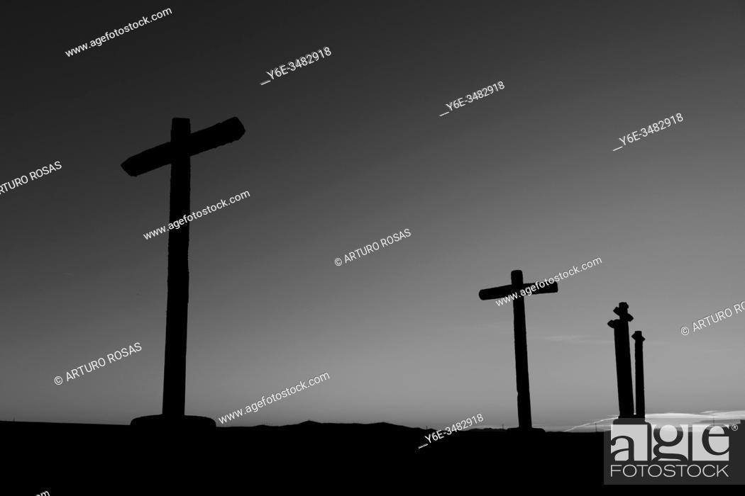 Stock Photo: Via Crucis in Abades, province of Segovia.