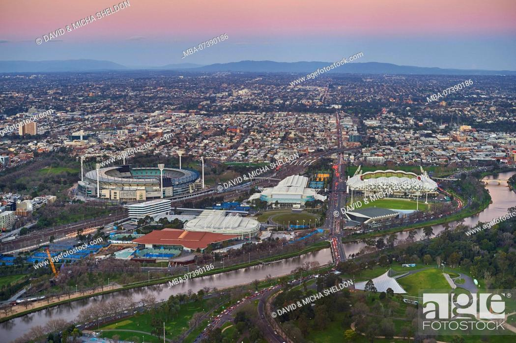 Stock Photo: View from the Eureka Tower over the Olympia center, Melbourne, Victoria, Australia, Oceania.
