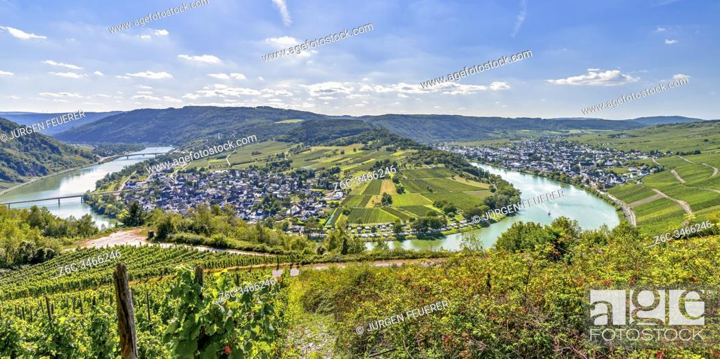 Stock Photo: panorama of a bend of the Moselle river around village Wolf, Germany, view from mountain ridge near Mont Royal.