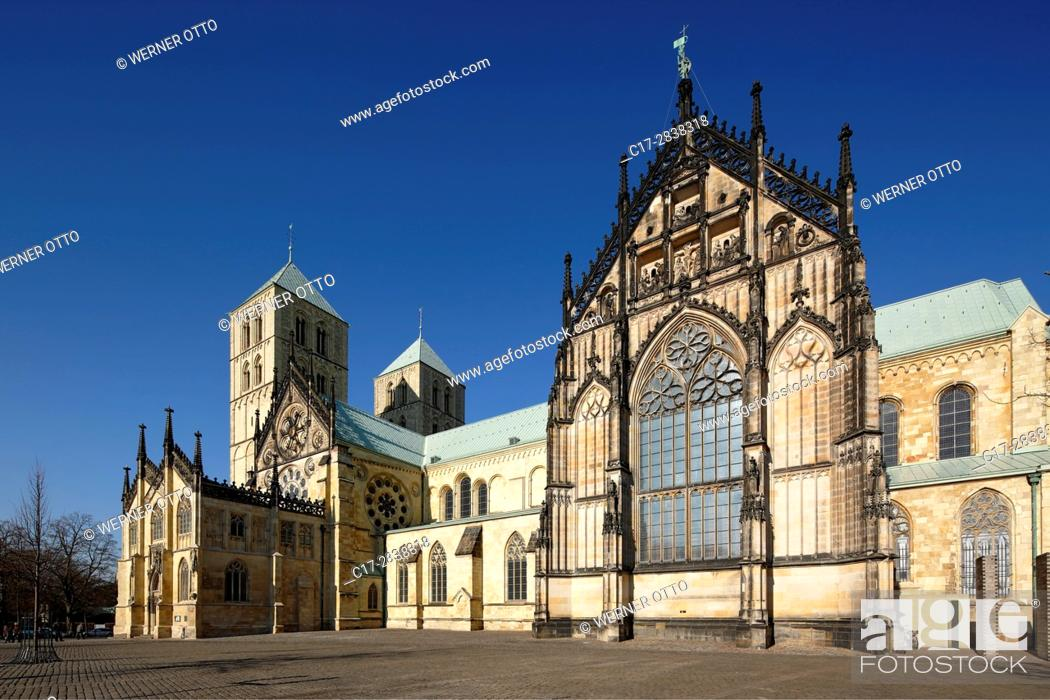 Stock Photo: Germany, Muenster, Westphalia, Muensterland, North Rhine-Westphalia, NRW, St. Paul Cathedral at the Domplatz, Dom square, episcopal church.