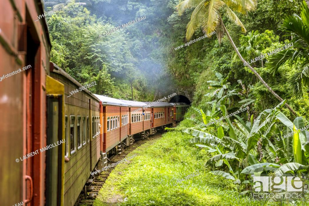 Stock Photo: Railway Track and Train from Colombo to Kandy, Sri Lanka, Asia.