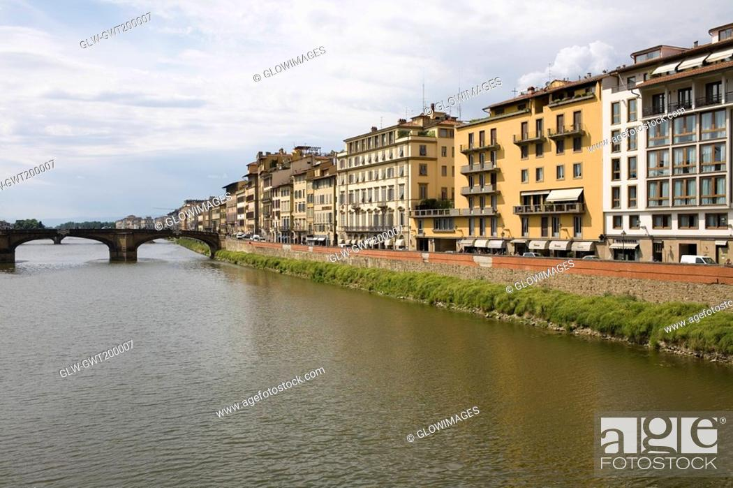 Stock Photo: Buildings at the waterfront, Arno River, Florence, Italy.
