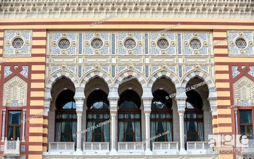 Stock Photo: Famous Vijecnica building in Sarajevo, Bosnia and Herzegovina.