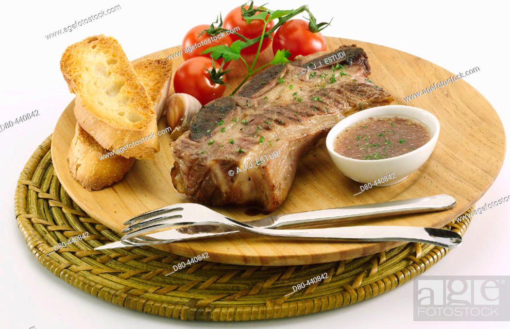 Stock Photo: Barbecued meat, steak.