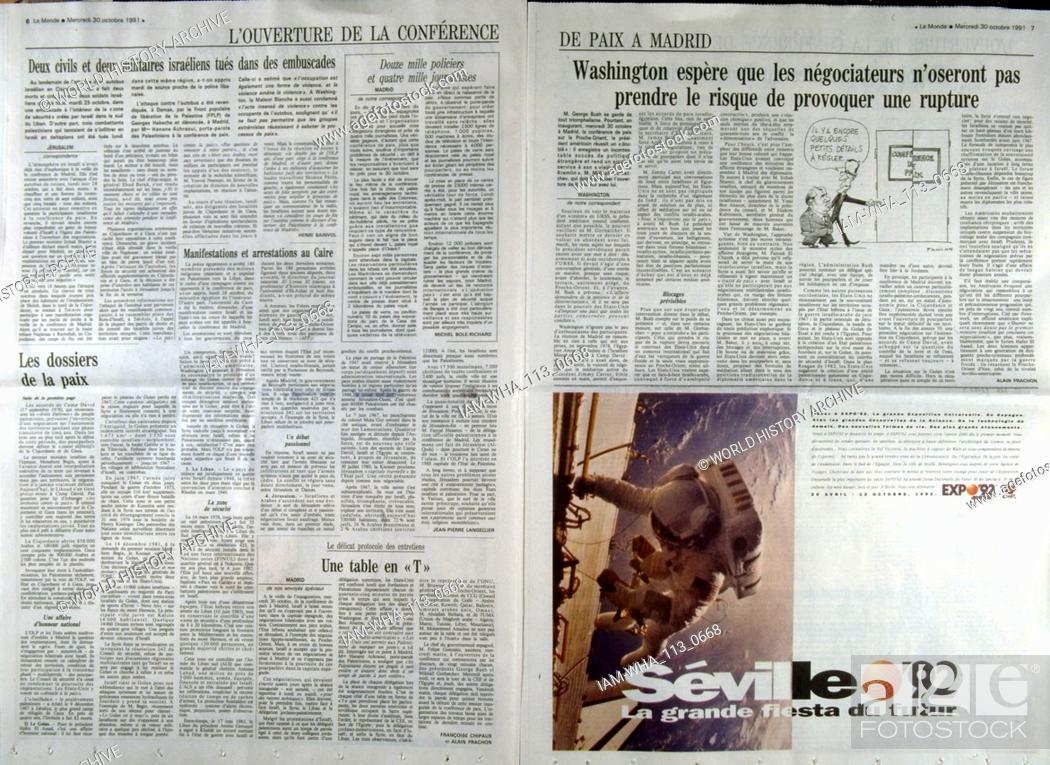 Stock Photo: French publication 'Le monde' reporting on the Madrid Conference; a peace conference, held from 30 October to 1 November 1991 in Madrid.