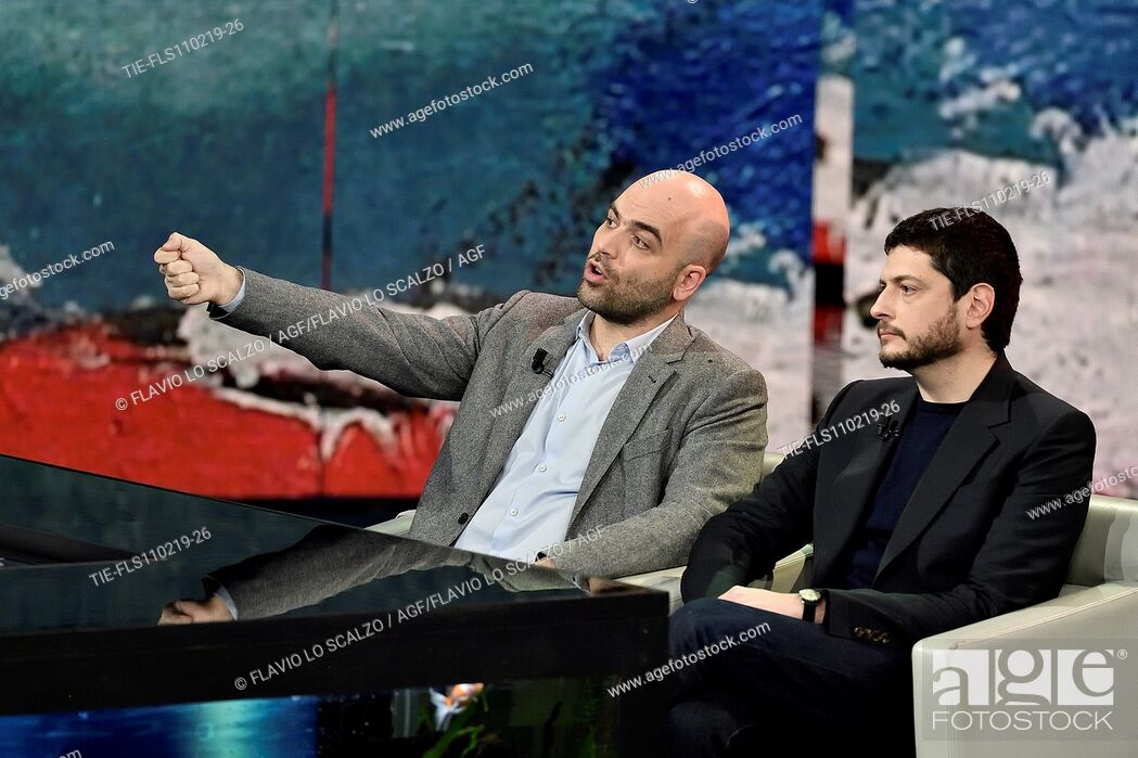 Imagen: Roberto Saviano, the film director Claudio Giovannesi during the tv show Che tempo che fa, Milan, ITALY-10-02-2019.