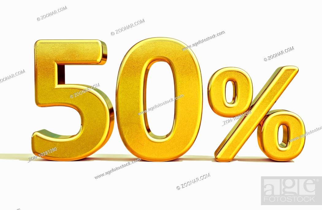 Stock Photo: 3d render: Gold 50 Percent Off Discount Sign, Sale Banner Template, Special Offer 50% Off Discount Tag, Fifty Percentages Up Sticker, Gold Sale Symbol.