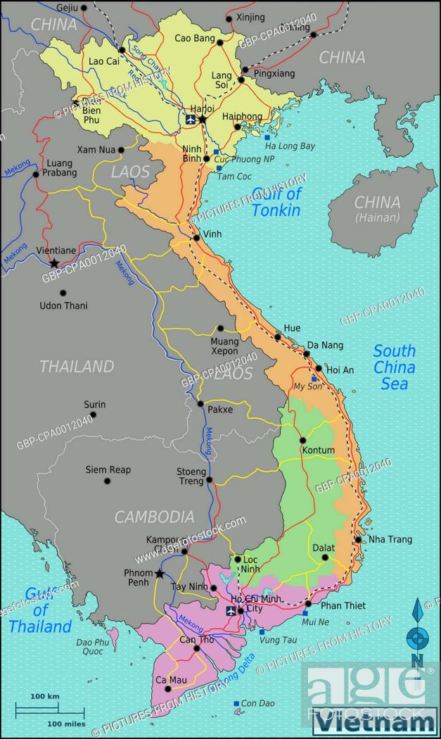 Vietnam Map Of Vietnam Showing North Central South And Central