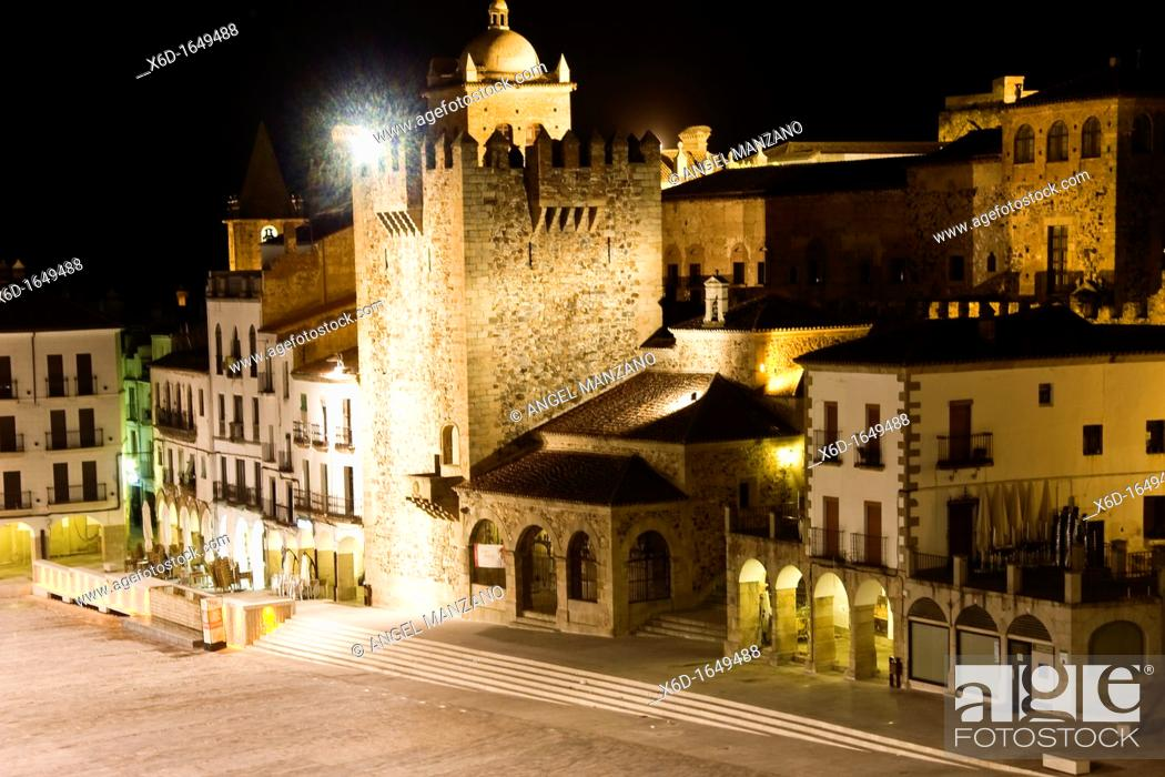 Stock Photo: Old town square by night, Caceres.