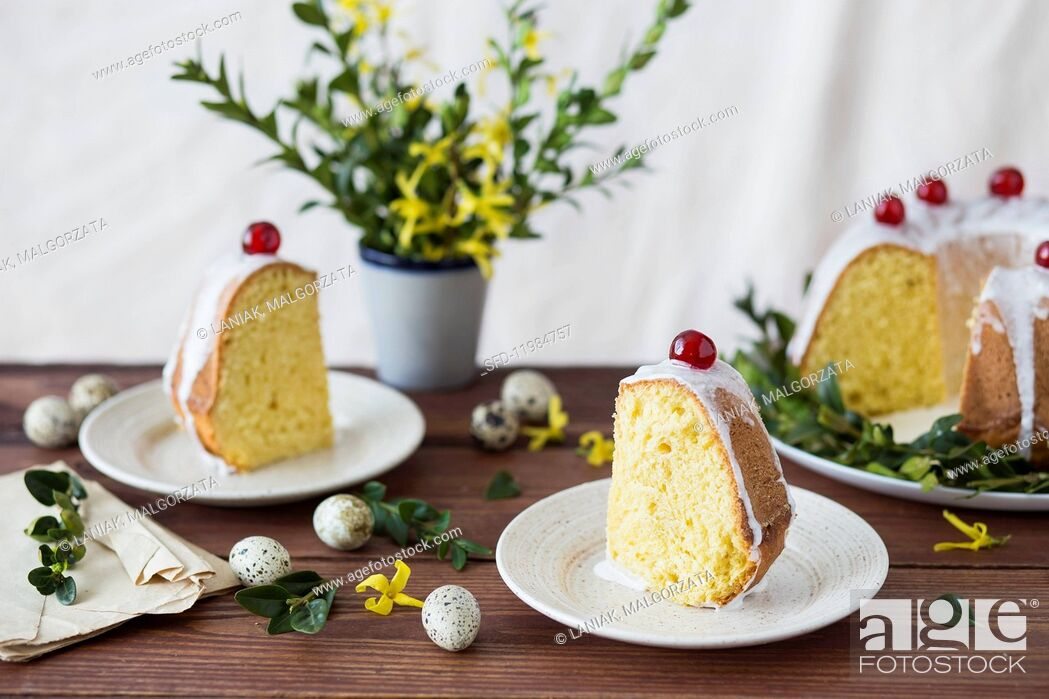 Stock Photo: Polish Easter cake with white icing.