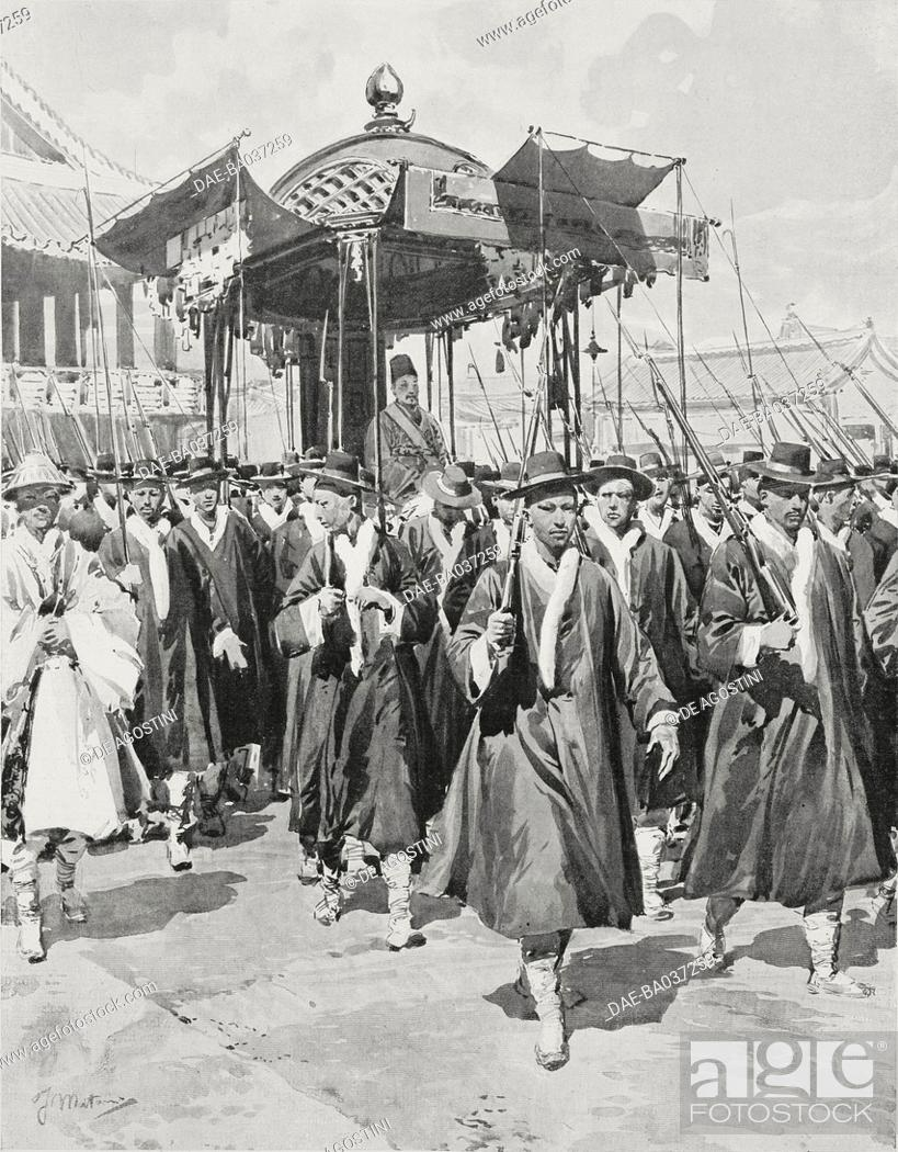 The Emperor of Korea, Gojong (1852-1919), being carried in a